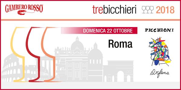 22 ottobre 2017 – Roma Degustazione dei Tre Bicchieri del Gambero Rosso 2018