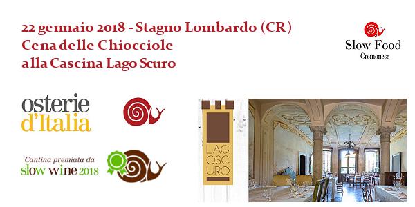 22 gennaio 2018 – Stagno Lombardo (CR) Cena delle Chiocciole alla Cascina Lago Scuro