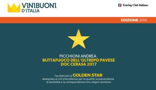 Agosto 2018 Golden Star di Vinibuoni d'Italia per il Buttafuoco Cerasa