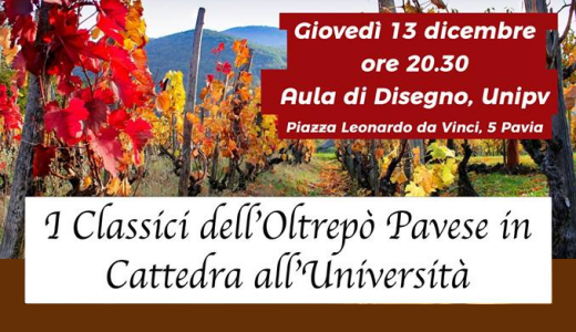 December 13 2018 – Pavia Oltrepò Pavese classic wines at the University of Pavia