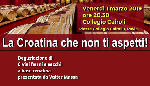 March 1st 2019 – Pavia Croatina tasting @ Cairoli College
